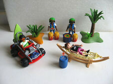 LOT PLAYMOBIL VACANCES MER PLAGE 4 PERSONNAGES + ACCESSOIRES + BUGGY  / BEACH G3