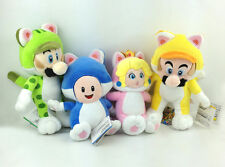 4X Super Mario Bros 3D World Cat Suit Mario Luigi Princess Peach Toad Plush Toy