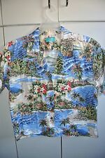 Kona Malia  Wms Large  Classic View Of Diamond Head & Grass Shacks on White/NWOT