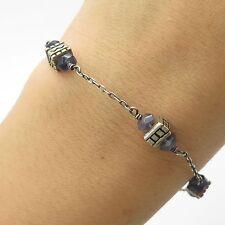 """Vtg 925 Sterling Silver Real Iolite Gemstone Bead Link Bracelet 6 3/4"""""""