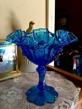 Vintage Early Fenton Colonial Blue Stemmed Cabbage Rose Compote