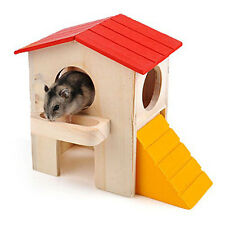 Wooden Bed House Cage Habitat 2-layer Villa for Hamster Squirrel Mouse Pets