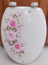 HAND PAINTED ROSES TOILET SEAT/HOT PINK/PINK/STANDARD/NEW COLORS BY MB