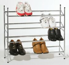 4 TIER CHROME SHOE RACK STAND STACK ABLE & EXTENDABLE BEDROOM HOME OFFICE STUDY