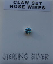 STERLING SILVER 925 TURQUOISE AUSTRIAN CRYSTAL 3MM CLAW SET L SHAPED NOSE STUD