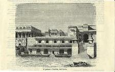 Stampa antica JAIPUR Palazzo di Amber Rajasthan India 1881 Old antique print