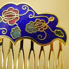 Cloisonne Hair Comb Gold Flowers Painted Enamel Vintage Style Updo Hair Clip Pin