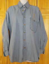 Denim Shirt Grits Girls Raised In The South Embroidered Logo Blue Womens Size M