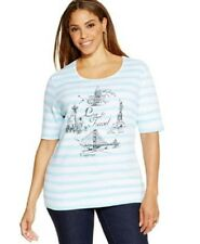 "NWT Karen Scott ""Love to Travel"" Drawing striped Knit Top T-Shirt Teal/White 1X"