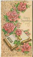 VINTAGE PINK GARDEN FLOWER ROSES SCROLL DESIGN BIBLE SCRIPTURE GREETING ART CARD