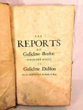 Antique Law Book Pleadings and Cases The Reports of Gulielme Benloe 1689