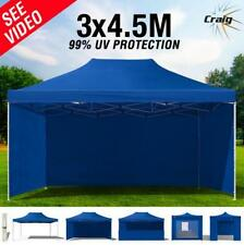 PVC 99% UV 3x4.5m Gazebo Outdoor Canopy Pop Up Tent Folding Marquee Party Blue