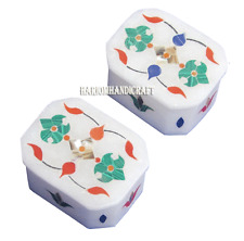 Set of 2 Marble Wihte Jewelry Trinket Box Rare Marquetry Mosaic Decor Gift H2735