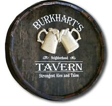 Beer Tavern Personalized Quarter Barrel Wood Sign, Great Man Cave, Bar, Pub