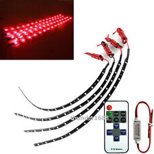 "4x 12"" Red Motorcycle LED Strip Light With Wireless Remote Control For Kawasaki"