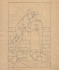 Antico Disegno a Matita Fontana Ropieur a Mons di Leon Gobert 1937
