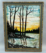 Vintage Crinkled Aluminum Foil backed Painted Picture Wood Frame Reverse Scenery