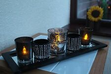 SET OF 5 CANDLE HOLDERS ON TRAY DIAMANTE CANDLE HOLDER ON WOODEN & MIRRORED TRAY