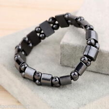 Unisex Men Women Black Magnetic Hematite Wrist Bracelet Therapy Arthritis