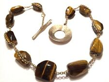 Vintage Tigers Eye & Chain  Stone Bead Necklace T Bar Fastening Good Vintage