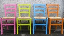 Set 4 Sedie in legno di faggio con seduta Paglia FINITURE PASTELLO! Sedia
