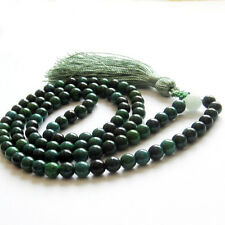 6mm Dark Green Jade Tibet Buddhist 108 Prayer Beads Mala Necklace