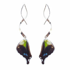 Real Handmade Butterfly Wing Earrings-Sterling Silver Dangle Butterfly Jewelry