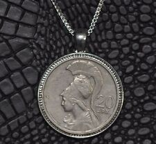 Authentic Goddess Athena 20 Drachma Greek Coin Pendant 925 Silver Necklace