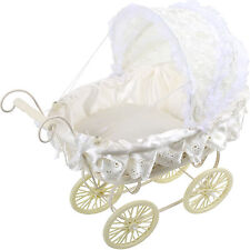 Doll PRAM WHITE WITH LACE Running cart Wooden doll car doll 46 x 46 CM NEW