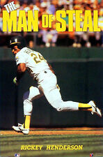 Rickey Henderson MAN OF STEAL Oakland A's 1990 Costacos Brothers POSTER