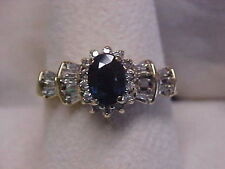 *ESTATE*NATURAL DEEP BLUE SAPPHIRE & DIAMOND RING 10K YELLOW GOLD sz9.25 BUY NOW