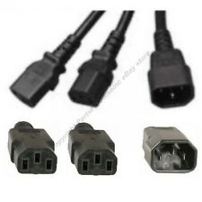 4ft 1Power Cable/Cord/Wire~2Devices/PC/Printer/Computer Y splitter$SHdi{C14~2C13