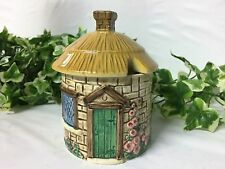 Beautiful Vintage SylvaC Cottage Ware Honey Jam Pot Thatched Lid