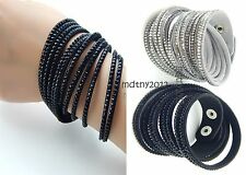 2 pcs Swarovski like Crystals Wrap Around PU Leather Bracelet Black Gray Beads