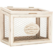 White Chicken Wire Box  Shabby Chic Decor  Storage Solutions Rustic Kitchen