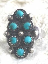 Vintage Sterling Silver Turquoise Ring Tribal Southwest Size 6.5 Petite Point