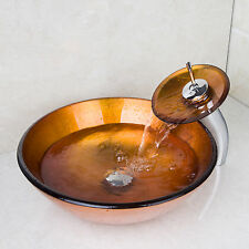 NEW Deck Mounted Bathroom Basin Orange Tempered Glass Sink Wash Basin Tap Set