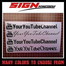YOUR USER NAME You Tube Decal / Sticker *custom youtube*