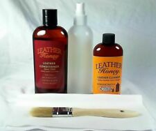 Leather Honey Conditioner and Leather Cleaner Set.  Free Bottle, Cloth, Brush