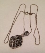 "Sterling Silver Marcasite Pendant Women's Sterling Necklace 18"" Marked 925 - A74"