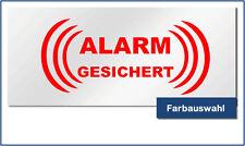 """Auto KFZ Aufkleber Sicherheit """"ALARMGESICHERT"""" 10,0 x 4,5 cm - Wunschfarbe"""