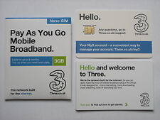 Three 3GB Data Preloaded 3G/4G Pay As You Go Nano-SIM for iPad Mini & iPad Air