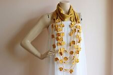 Mustard Yellow Infinity Scarf with Crochet Flowers/Crochet infinity-Fall scarf