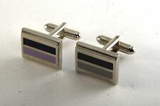 DESIGNER INDUSTRIAL STYLE BLACK & GREY  ENAMEL  SILVER PLATED MEN'S CUFF LINKS