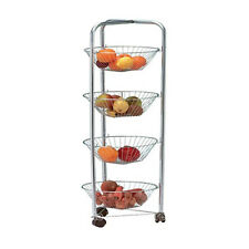 4 TIER FRUIT & VEG STORAGE TROLLEY RACK ON WHEELS KITCHEN FOOD ORGANISER BASKET