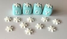 Large Edible Fondant Name Blocks Cake Topper Frozen Snowflakes