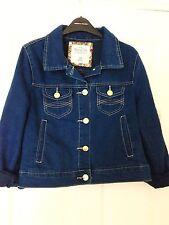 PRIMARK Mid Navy Blue Wash 70s Vintage Denim Jacket UK 12 Gold Button boutique