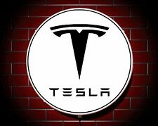 TESLA LED 600mm ILLUMINATED GARAGE WALL LIGHT CAR BADGE SIGN LOGO MAN CAVE MODEL
