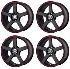 MOTEGI RACING MR116 MR11667001740 RIMS SET OF 4 16X7 40MM 5X4.25 BLACK/RED