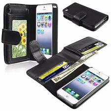 Black Leather Wallet Flip Pouch Case Cover Accessory For Apple iPhone 4 4s